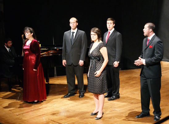 Pianist Rick Masters leads Emily Jensen, William Schaller, Maria Bellanca, Nicholas Gerling, and Jonathon Subia through the first act finale of La Finta Giardiniera - 2008.