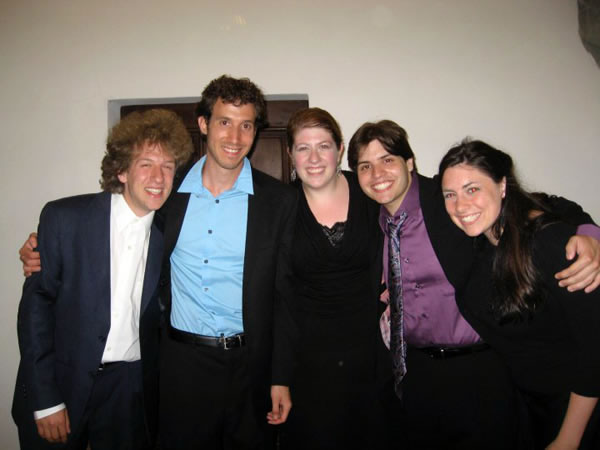 Jacob Finkle, Josh Bouillon, Carly Rapaport-Stein, Alex Turpin, and April Martin enjoy a moment after the Piobbico concert.