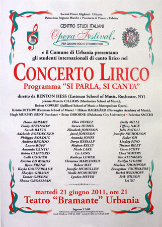 "The poster for the ""Si parla, si canta 2011"" Teatro Bramante concert."