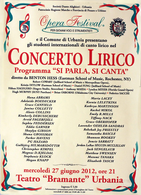 "A concert poster for the 2012 edition of ""Si parla, si canta."""