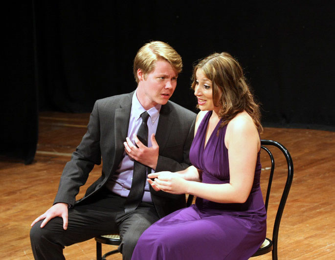Jack Sengelaub and Rebekah Joy Priestly perform a duet from Donizetti's L'ELISIR D'AMORE in Teatro Bramante.