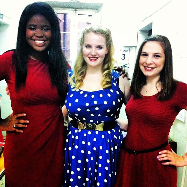 Morgan Middleton, Eleanor Coleman, and Naomi Brigell looking very patriotic before the American Music Concert.