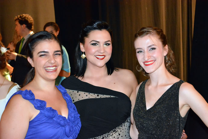 Daniela Camilleri, Alyssa Jackson, and Lauren DeLucia backstage at Teatro Bramante.