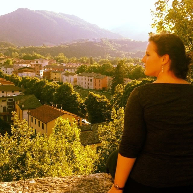Alyce Daubenspeck looks down upon Piobbico from the Castello Brancaleoni.