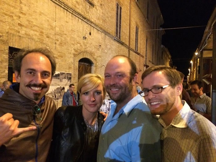 Coaches out on the town: Federico Sacchi, Ksenia Lelëtkina, Wilson Southerland, and Brett Hodgdon.